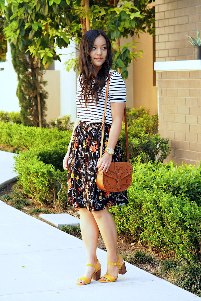 striped tee + floral print skirt + colorful shoes