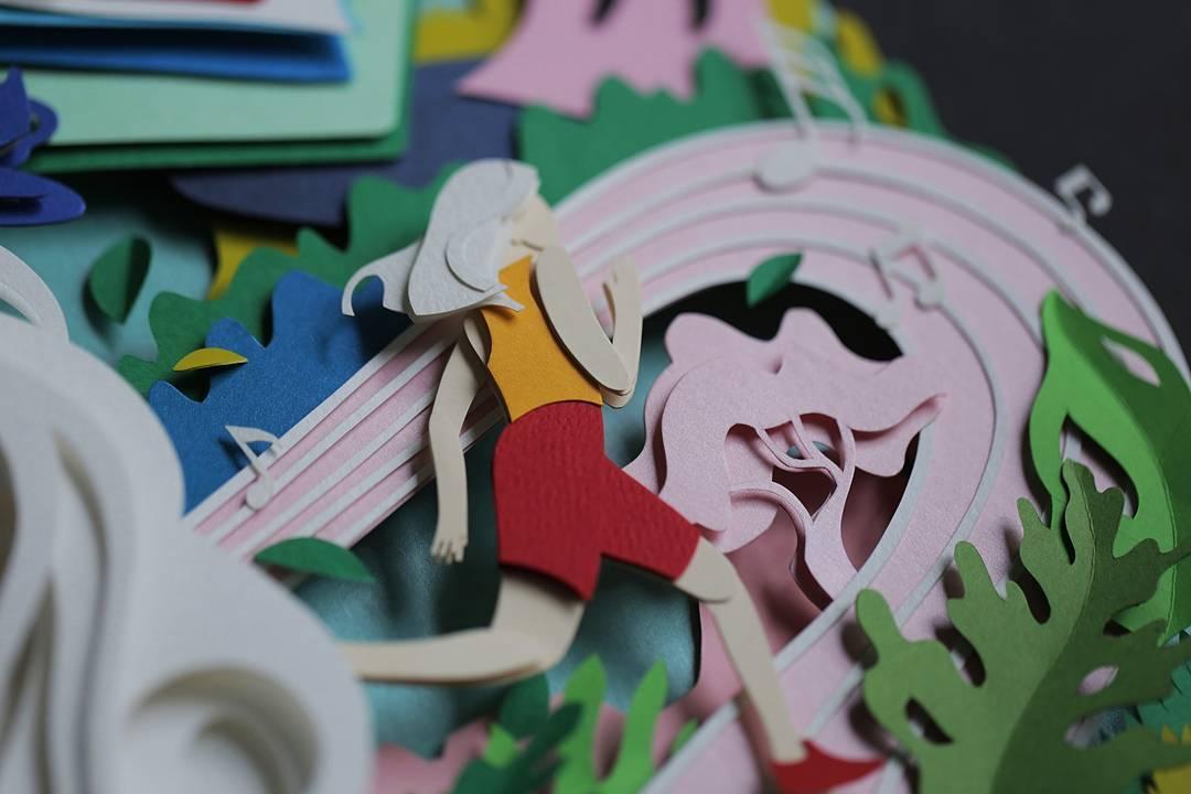 paper cut illustration track