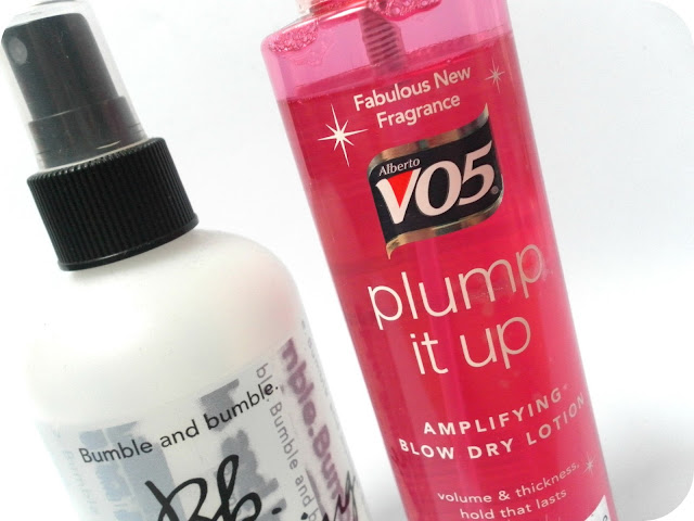A picture of Bumble and Bumble Bb. Thickening Hairspray and VO5 Plump it Up Amylifying Blow Dry Lotion