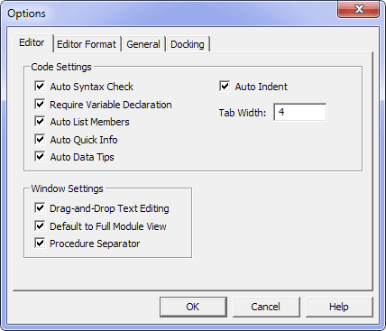 TAB Editor Opstions VBE Excel