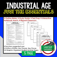 Industrial Age American History Outline Notes, American History Test Prep, American History Test Review, American History Study Guide, American History Summer School, American History Unit Reviews, American History Interactive Notebook Inserts
