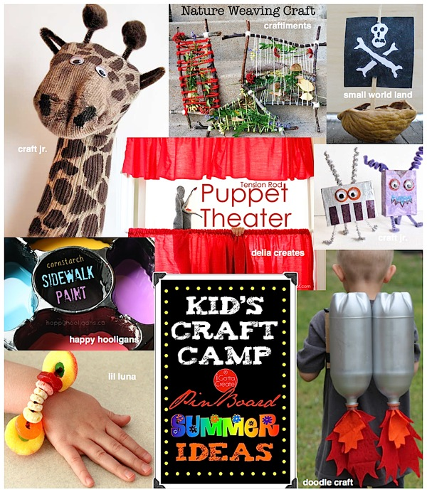 Kids Craft Camp Summer Ideas Pin Board ~ pinned at I Gotta Create! featuring Craft Jr, Craftiments, Small World Land, Delia Creates, Happy Hooligans, Lil Luna, Doodle Craft and more!