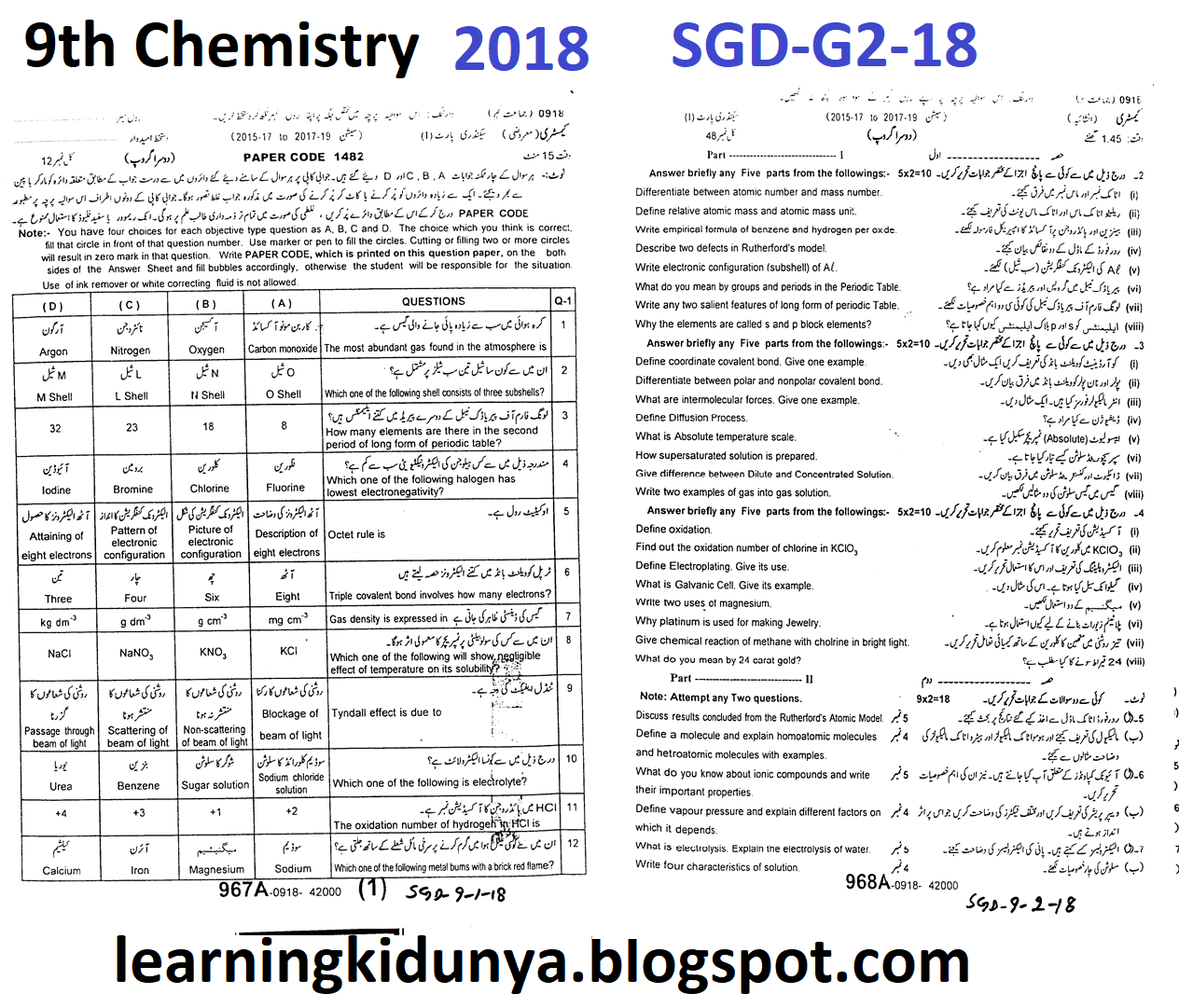 BISE Sarghodaha G II 9th Class Chemistry Past Papers 2018