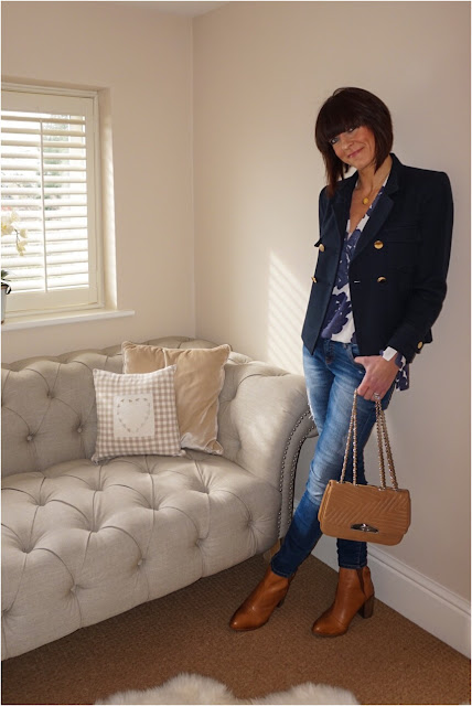 My Midlife Fashion, H and M Patterned Blouse, Leather quilted chain bag, tan block heel ankle boots, zara skinny jeans,  navy blazer, harry rocks entwined pendant