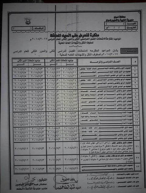 جدول امتحانات الصف الأول الابتدائي 2018 الترم الثاني محافظة اسوان