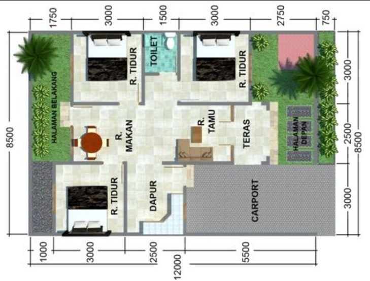 8 Denah Rumah Minimalis Idaman Sederhana Type 54 Karya Minimalis