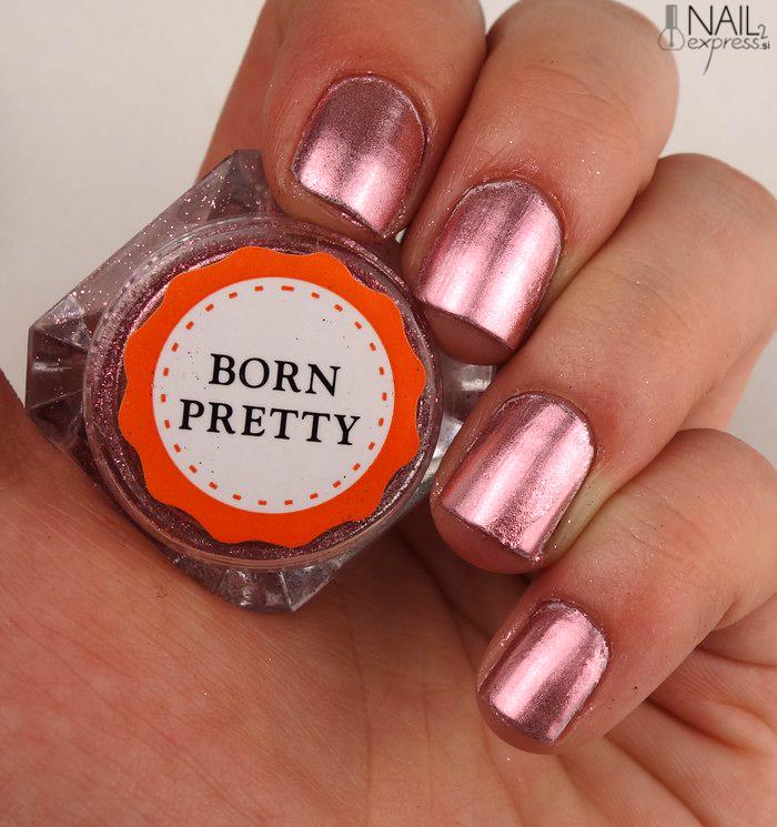 Born pretty store_rose gold mirror nail powder_swatch