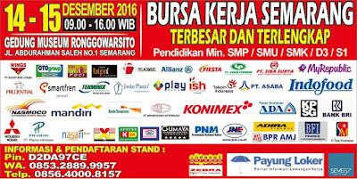 Bursa Kerja Terbesar dan Terlengkap Tanggal 14 – 15 Desember 2016 di Gedung Museum Ronggowarsito Semarang