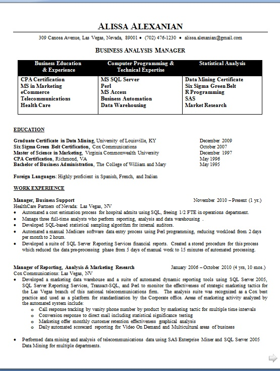 Manager Business Support Sample Resume Format in Word Free Download