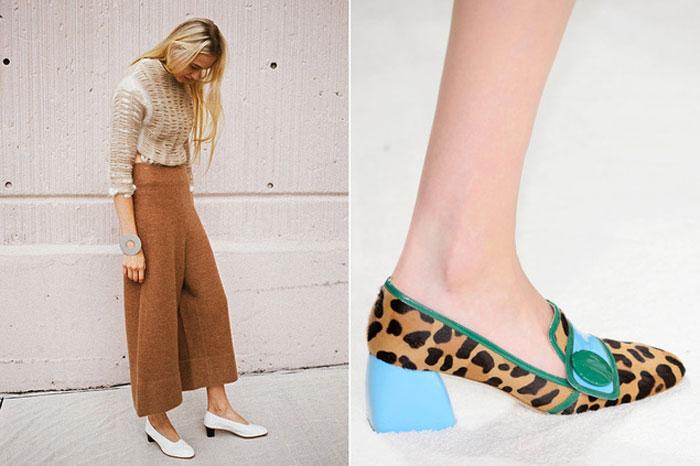 Tendencias Otoño Invierno 2015 zapatos tacón abuela estampado animal culottes