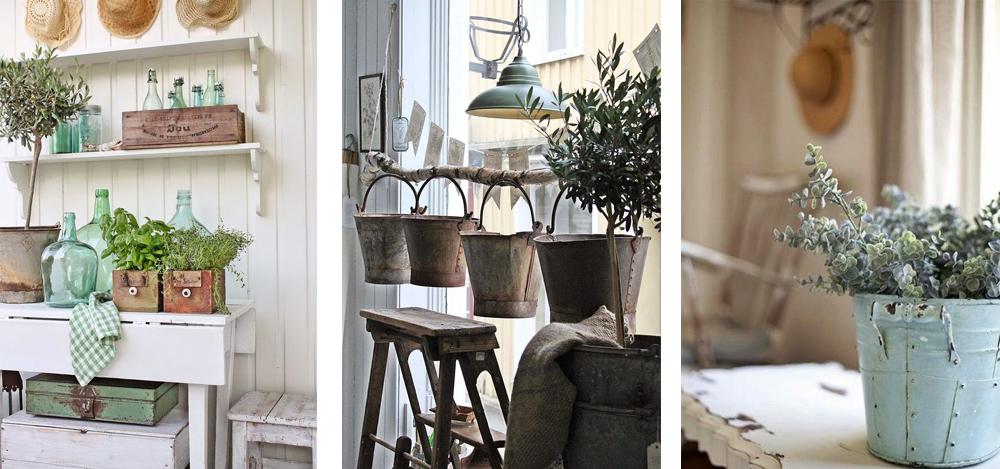 como decorar al estilo vintage con jarrones de vidrio, cajas de madera y cubos de metal