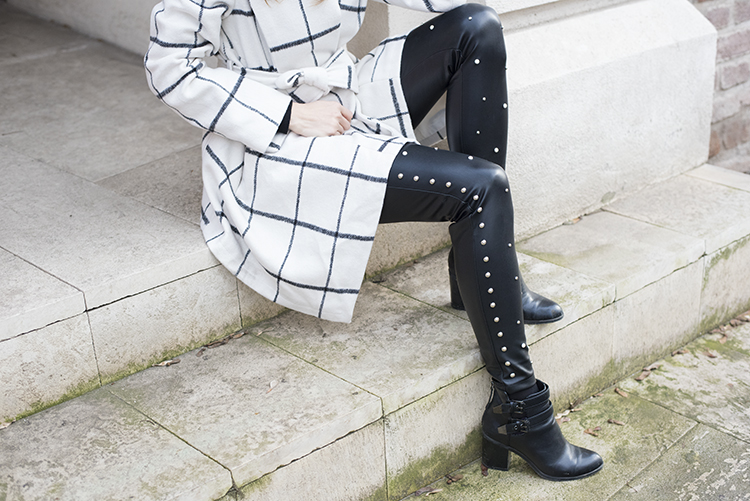 White Grid Winter Coat Studs Pearls Leather Leggings
