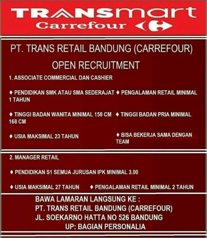 Lowongan Kerja Transmart Carrefour Bandung Tingkat Sma Smk 2021 2021