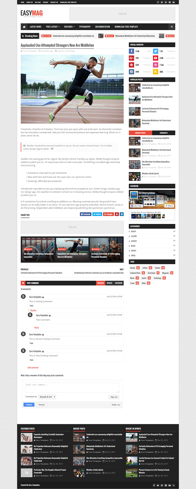 Easy Mag Blogger Template Post Page