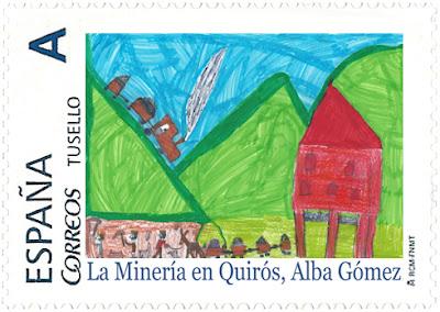 Sello personalizado La minería en Quirós, de Alba Gómez