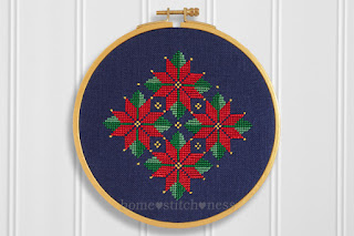 Flowering Poinsettia in bloom Christmas cross stitch pattern hoop art