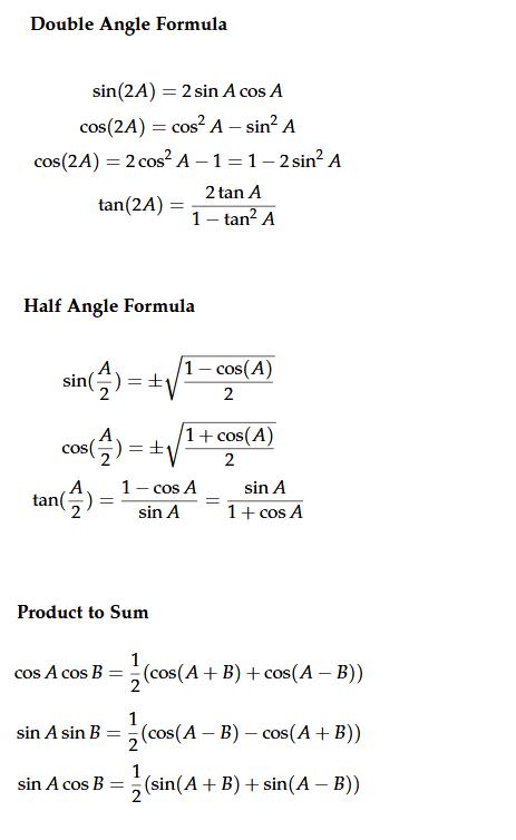 Double Angle Formula Half Angle Formula Product to Sum