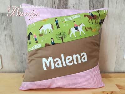 Kissen Name Mädchen Pferd Pony Reiterin Geschenk Geburt Taufe Baby rosa beige grün Vichykaro