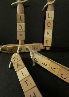 Vintage clothespins with scrabble tiles