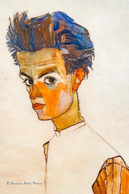 Egon Schiele: Autorretrato con Camisa a Rayas - Leopold Museum, Viena por El Guisante Verde Project
