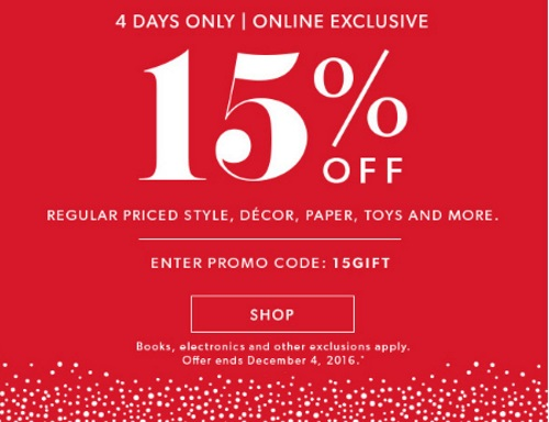 Chapters Indigo 15% Off Style, Decor, Paper, Toys Promo Code