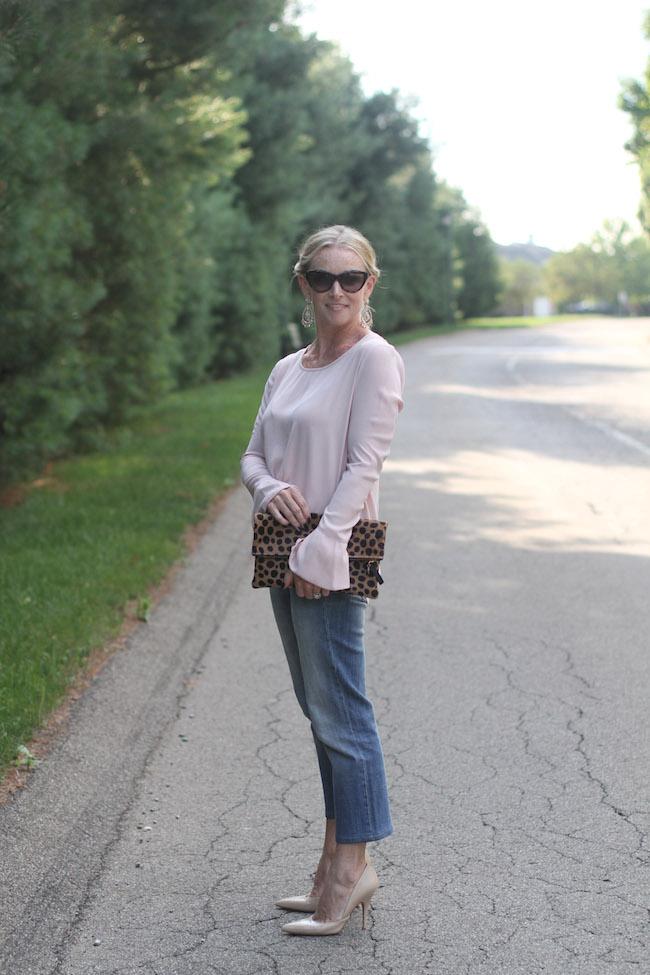 pleione blush top, cropped flare jeans, clare v leopard clutch