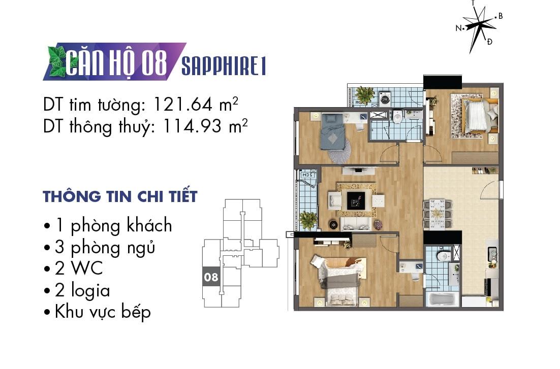 Mặt bằng căn hộ 08 tòa Sapphire 1
