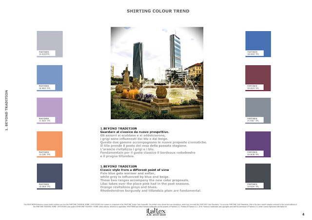 1.BEYOND TRADITION Classic style from a different point of view Pale blue gets warmer and softer,  while grey is influenced by blue and beige. These two ranges accompany the new color proposals. Lilac takes over the place pink had in the past seasons. Orange revitalizes greys and blues. Rhododendron burgundy and tillandsia plum are fundamental.