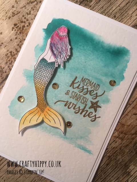 This image shows a handmade card with a mermaid on the front made with the Magical Mermaid stamp set by Stampin' Up! UK, created by Demonstrator Lauren Huntley, Crafty Hippy
