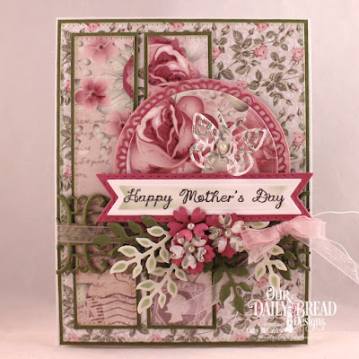 ODBD Products:  Stamp Set: All Mothers  Paper Collection: Romantic Roses   Custom Dies: Pierced Rectangles, Circles, Filigree Circles, Trellis Strip, Bitty Butterflies, Pennant Flags, Double Stitched Pennant Flags, Bitty Blossoms