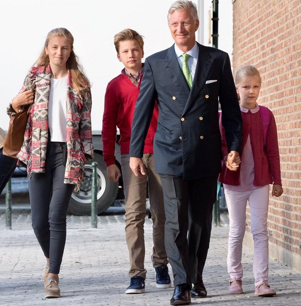 King Philippe, Crown Princess Elisabeth, Prince Gabriel and Princess Eleonore of Belgium summer holiday school