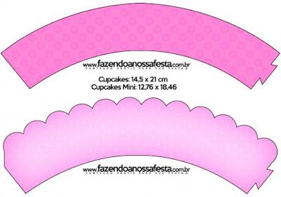 Wrappers para cupcakes de Corazones Rosa.