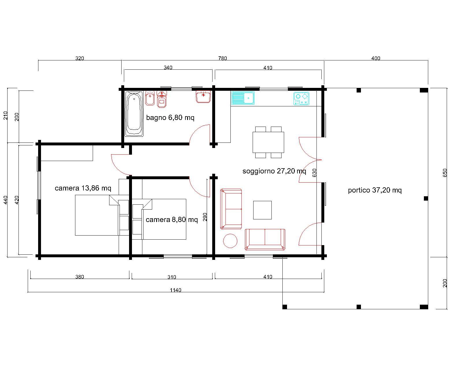Progetti di case in legno casa 65 mq portico 37 mq for Progetti di case