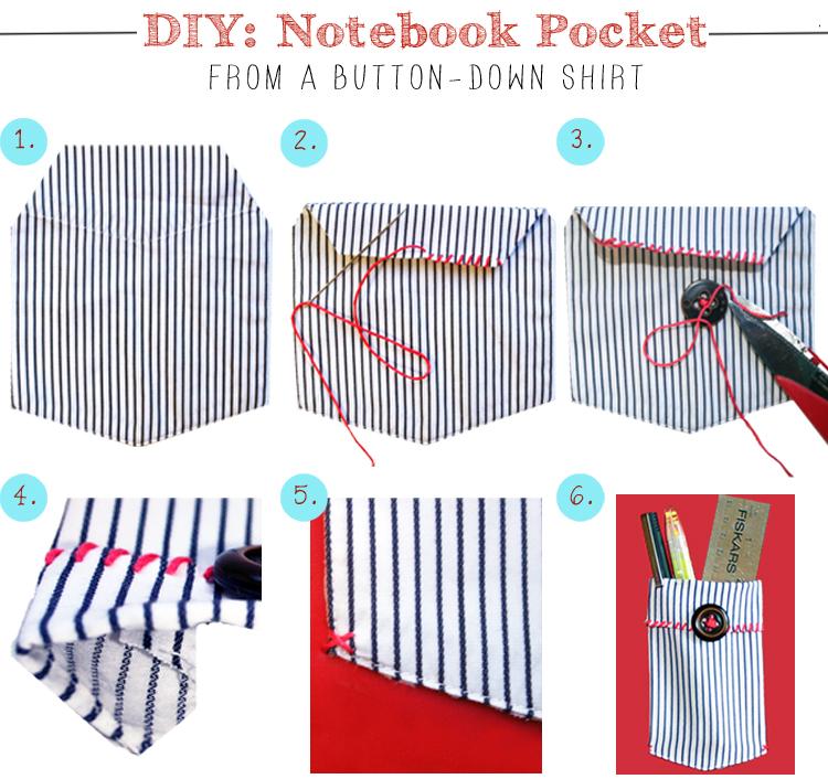 Diy Notebook Pocket From A Shirt