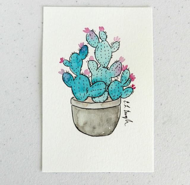 Mini Blue Prickly Pear Cactus Watercolor Illustration by Elise Engh