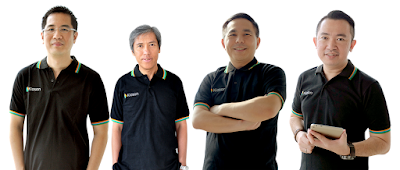 Pemilik Kioson, dari kiri ke kanan : Founder ; Roby Tan, Co-Founder : Viveri Limiardi, Co-Founder & CEO : Jasin Halim ,CTO : RICO