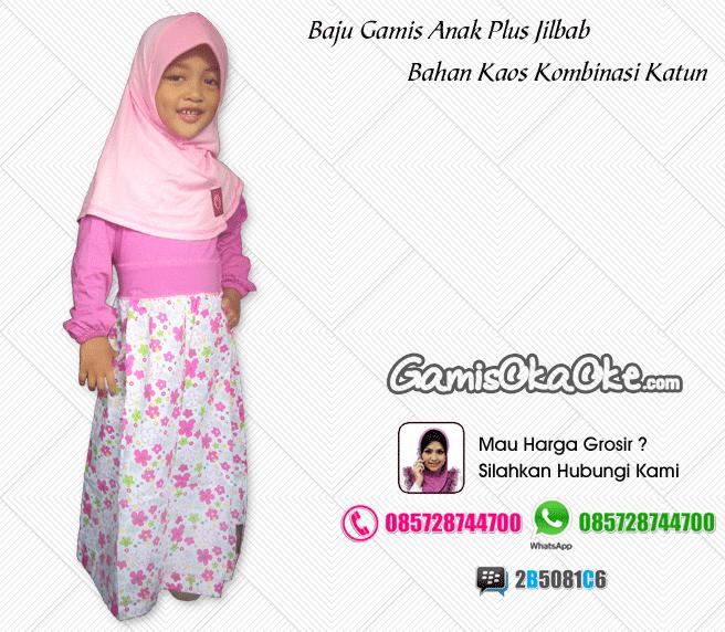 Grosir baju muslim anak perempuan bahan kaos murah meriah online