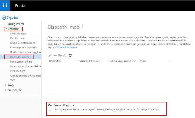 Non inviare le conferme di lettura per i messaggi letti su dispositivi che usano Exchange ActiveSync