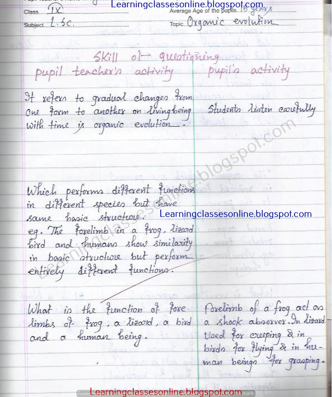 life science or biological science B.Ed lesson plan for year 1 and 2 teching on organic evolution and the skill used is questioning