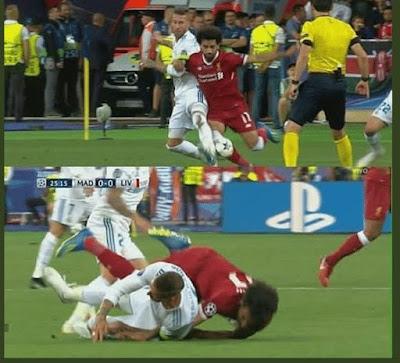 هل كان راموس متعمدا اصابة محمد صلاح في مباراة ريال مدريد - شاهد الفيديو لتعرف !