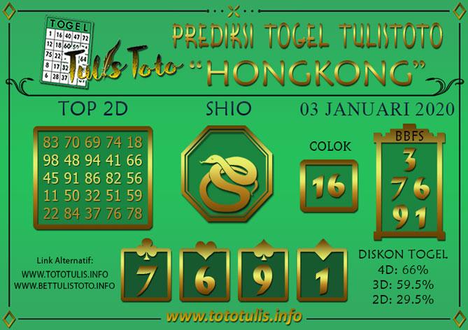 Prediksi Togel HONGKONG TULISTOTO 03 JANUARI 2020