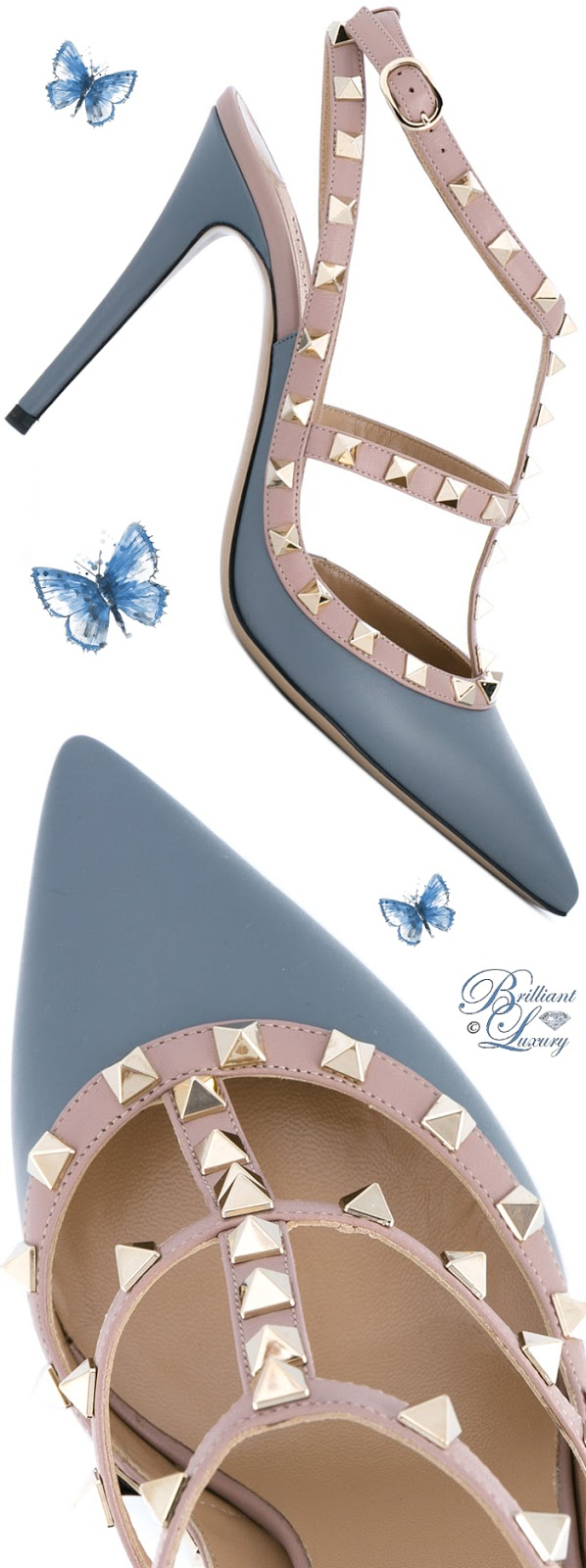 Brilliant Luxury ♦ Valentino Rockstud Pumps #blue