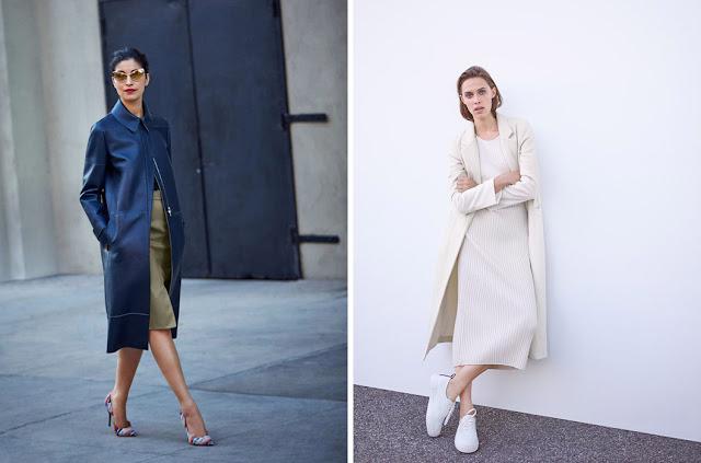 Синее пальто и белое минималистское платье с белым пальто и кроссовками для драматика