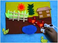 Mainan kain flanel playboard di peternakan