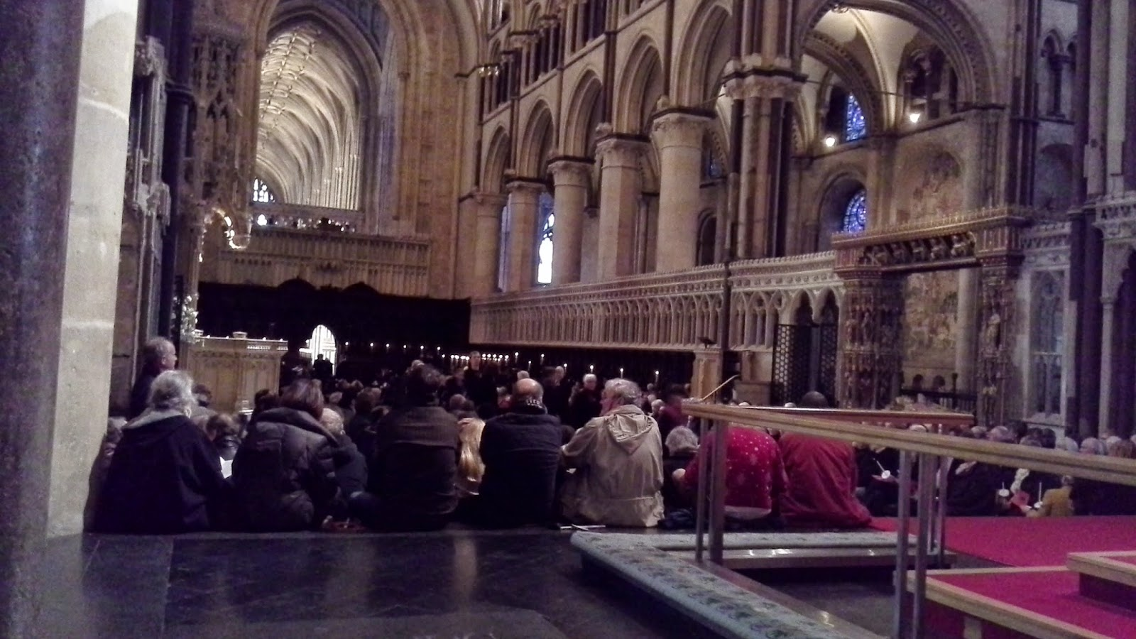 Congregation on the high altar steps at Canterbury Cathedral, awaiting the start of the service