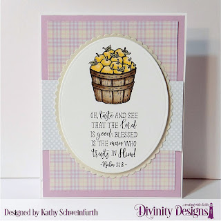 Divinity Designs Stamp Set: Fruit of the Spirit, Custom Dies: Ovals, Scalloped Ovals, Paper Collections: Spring Flowers 2019, Pastel