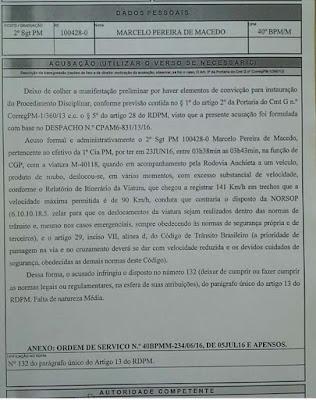 PM pode ser punido por excesso de velocidade durante perseguição no ABC paulista