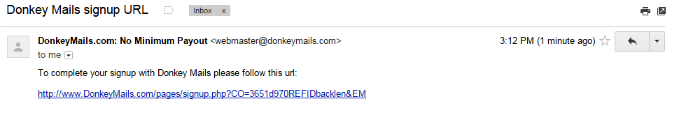 Click the e-mail verification link to go the Donkeymails registration page