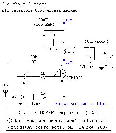 Class A MOSFET Amplifier 2SK1058  AUDIO AMPLIFIER ...