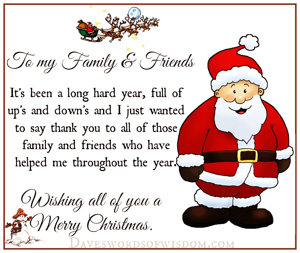 merry christmas to my family friends